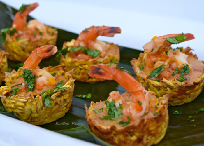 Plantain Baskets with Shrimp and Peanut-Coconut Sauce
