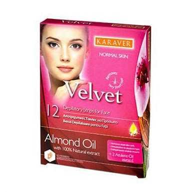 Karaver Velvet Almond Oil 20 Ταινίες Αποτρίχωσης Προσώπου