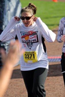 Crossing the Finish Line of my 1st half marathon