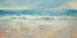 Seascape of North Cornwall with a windswept beach and wet sand reflections