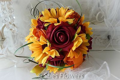 Bridesmaid Bouquet In Autumn Colours Sunflowers Roses Bear Grass