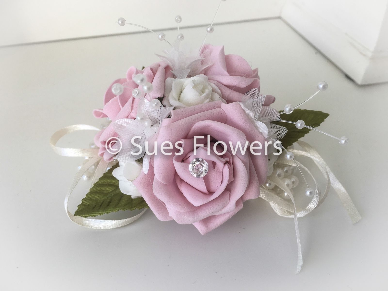 Wedding Flowers Pearl Wrist Corsage In Vintage Or Baby Pink And