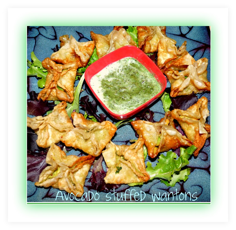 High Fiber Avocado Ginger Chickpea Wontons with Mint Yogurt #SundaySupper