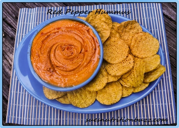 Roasted Red Pepper Three Bean Hummus with Olive Oil Butter & Sea Salt