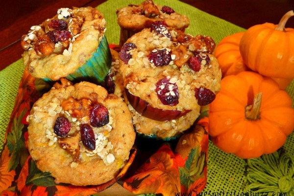 Spiced Pumpkin Ricotta Oat Muffins with Craisins & Walnuts #SundaySupper #GlutenFree