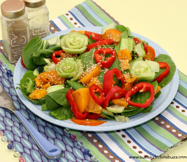 Persimmon Bok Choy Salad With Sesame Ginger Orange Dressing