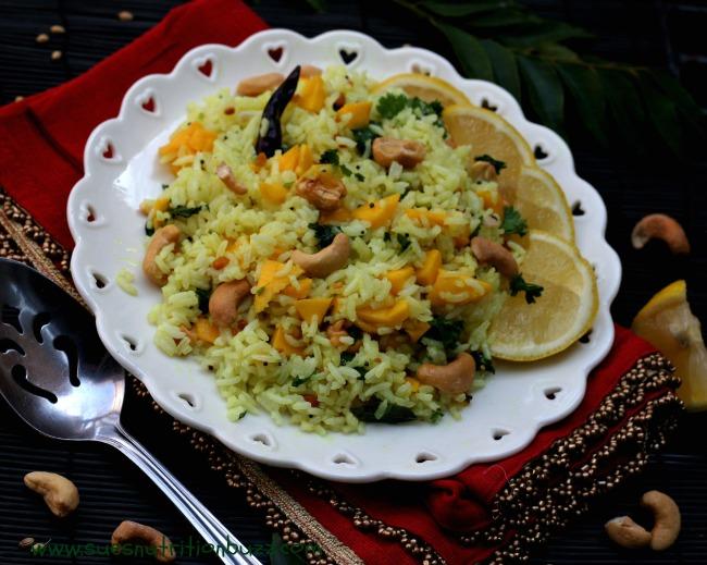 Tangy Lemon Rice With Fresh Mango & Roasted Cashew #SundaySupper