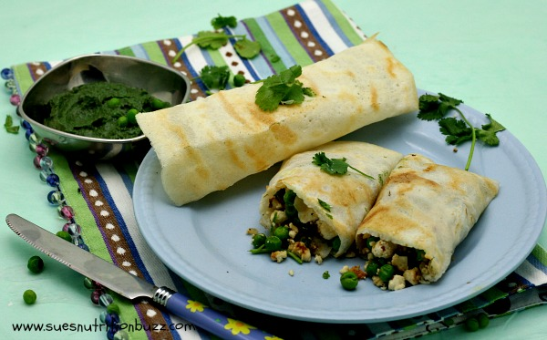 Masala Dosa ! Rice Crepes Stuffed With Peas & Ricotta  #WeekdaySupper