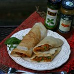 Rice crepes stuffed with sweet potaoes