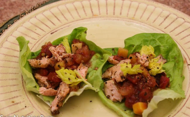 Roasted Salmon Lettuce Wraps with Mango Salsa #WeekdaySupper