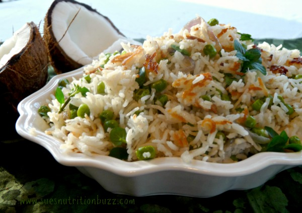 Coconut Rice Pilaf With Peas & Fresh Herbs #WeekdaySupper