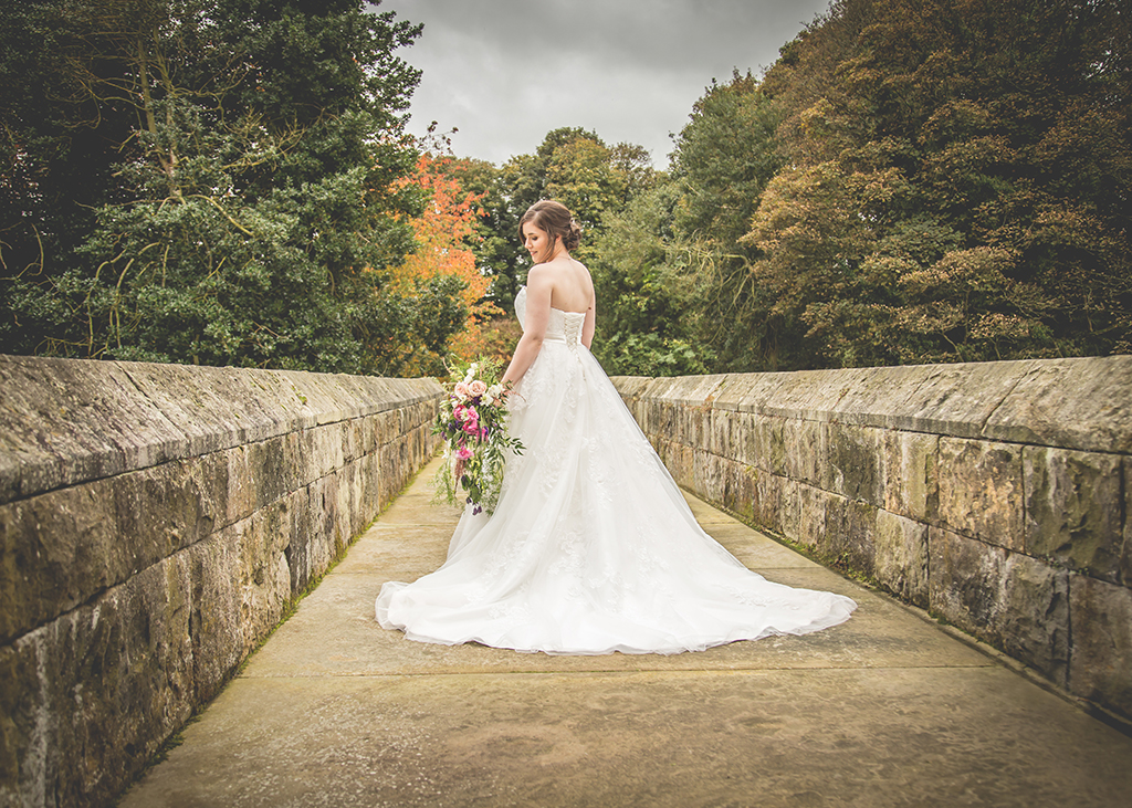 bride on stone bridge