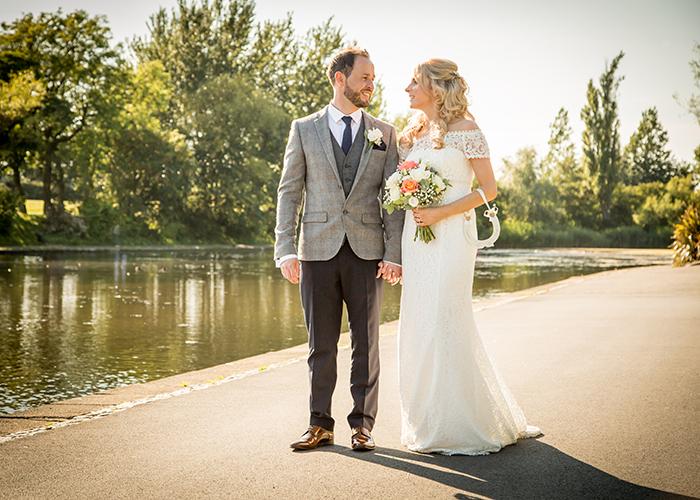 bride groom walking exhibition park lake