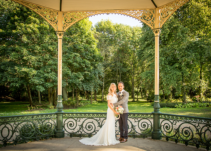 bride and groom bandstand