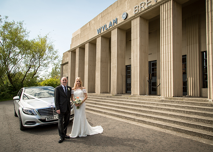 bride and father outside wylam brwery