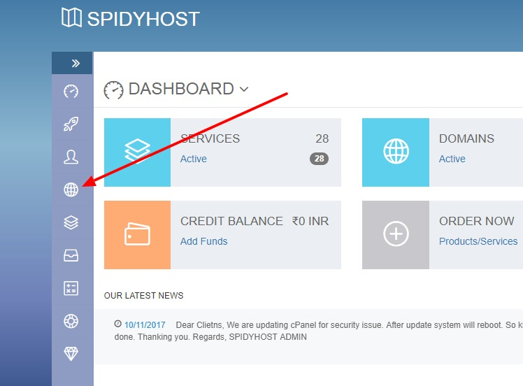 renew domains in Spidyhost