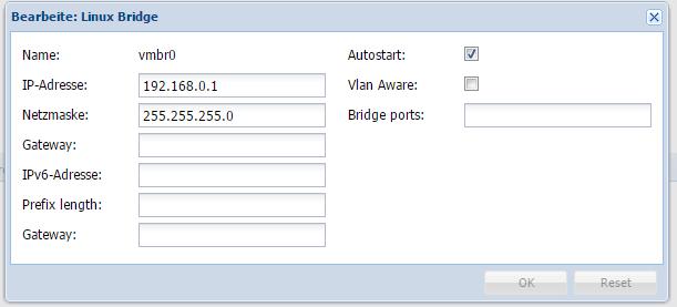 Proxmox Bridge im Webpanel