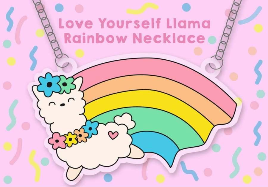 llama rainbow necklace