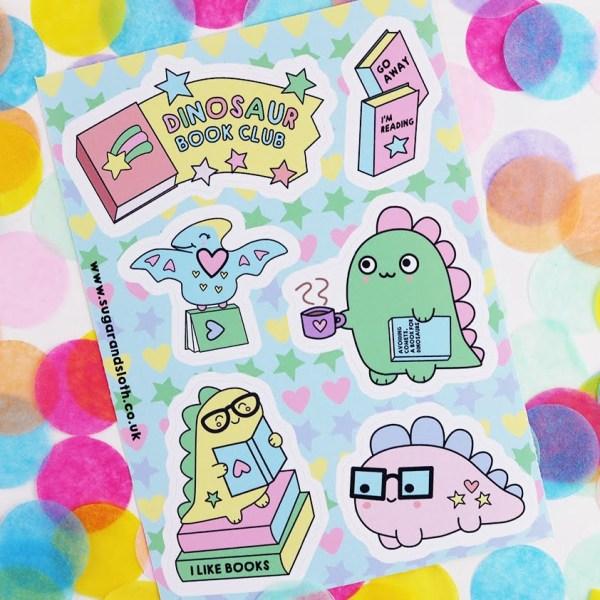 Cute dinosaur sticker sheet
