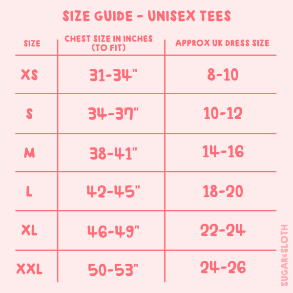 kawaii tshirt size guide