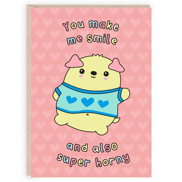 You make me smile funny valentines card