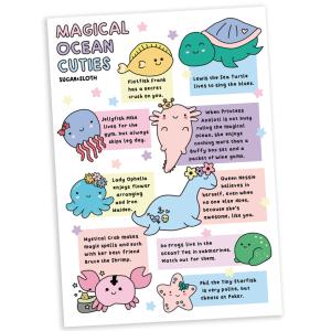 cute magical ocean creatures postcard