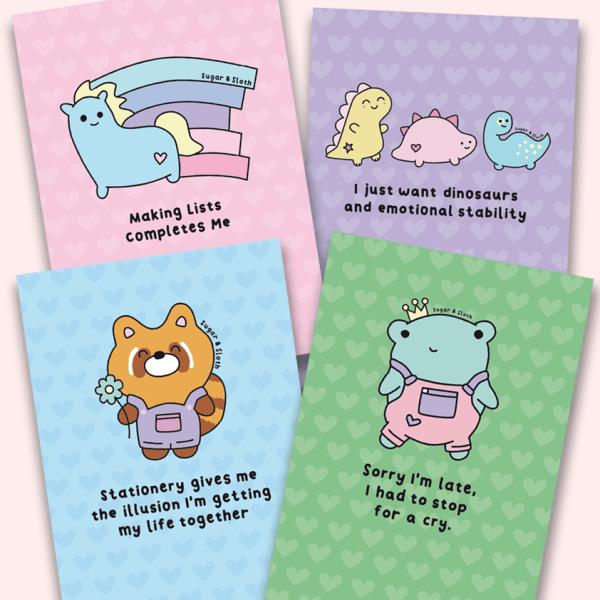 cute set of 4 notebooks