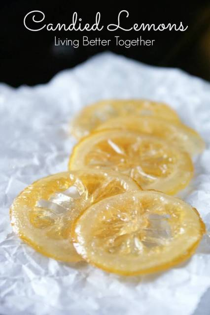 Candied Lemons are easily made at home on the stove and make beautiful toppings to cakes, pies, and more. You can also eat them plain!