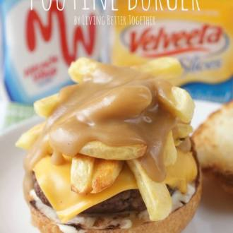 This Poutine Burger is loaded up with french fries, cheese, and gravy for a fun take on a Quebec Classic!