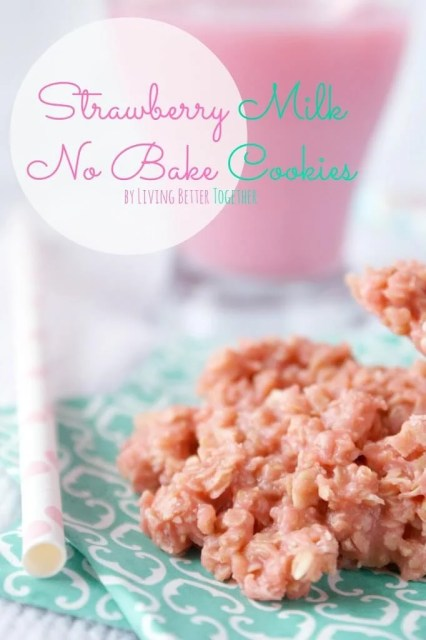 Strawberry Milk No Bake Cookies | www.sugarandsoul.co