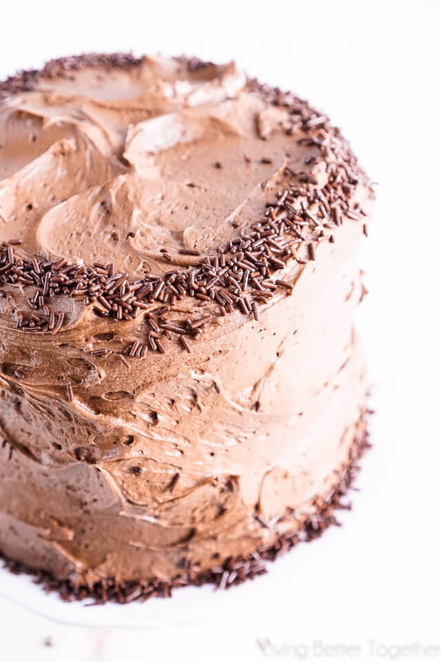 This Black Magic Chocolate Cakeis three layers of moist chocolate cake wrapped in The Best Chocolate Buttercream makes this one decadent dessert!