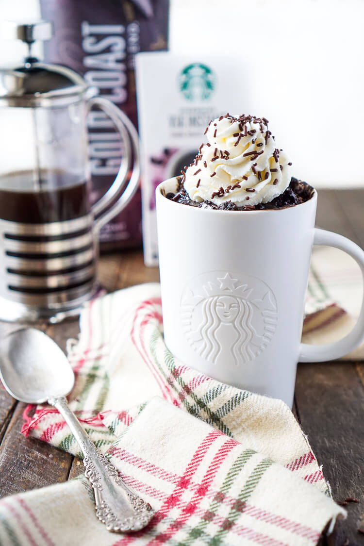 This Coffee Mug Cake is bold and rich and so easy to make! It's ready to eat in less than 5 minutes and loaded with notes of coffee, chocolate, and sugar!
