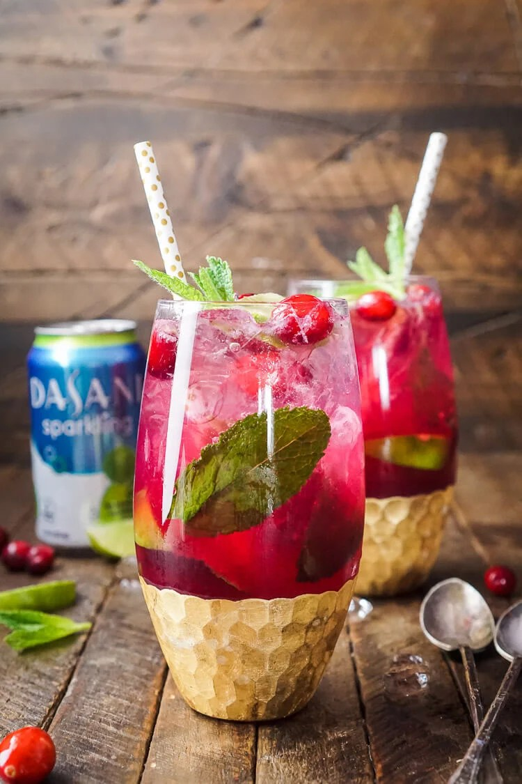 This Cranberry Mojito Punch is made with cranberry juice, lime, and mint!