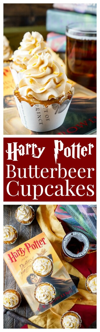 These Harry Potter Butterbeer Cupcakes will cast a spell on your taste buds and leave you in a state of geeky bliss! Loaded with delicious flavors of toffee, butterscotch, caramel, and vanilla.