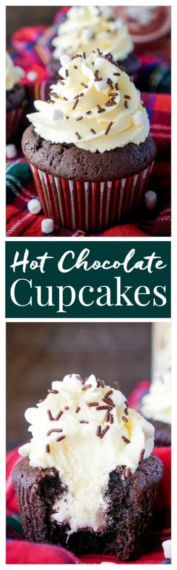 These Hot Chocolate Cupcakes are made with actual hot chocolate in the batter, filled with marshmallow fluff, and finished with a vanilla whipped cream frosting! They're everything you love about the classic drink in cupcake form, a perfect winter and holiday dessert!