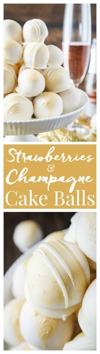 These Strawberries & Champagne Cake Balls are perfect for New Year's Eve, Valentine's Day, Bridal Showers and so much more!