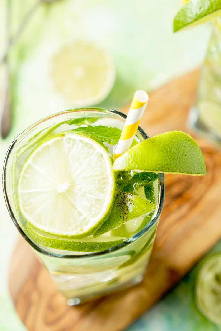 This Mojito Water is a refreshing infused water with bright limes and cool mint - make it in minutes!