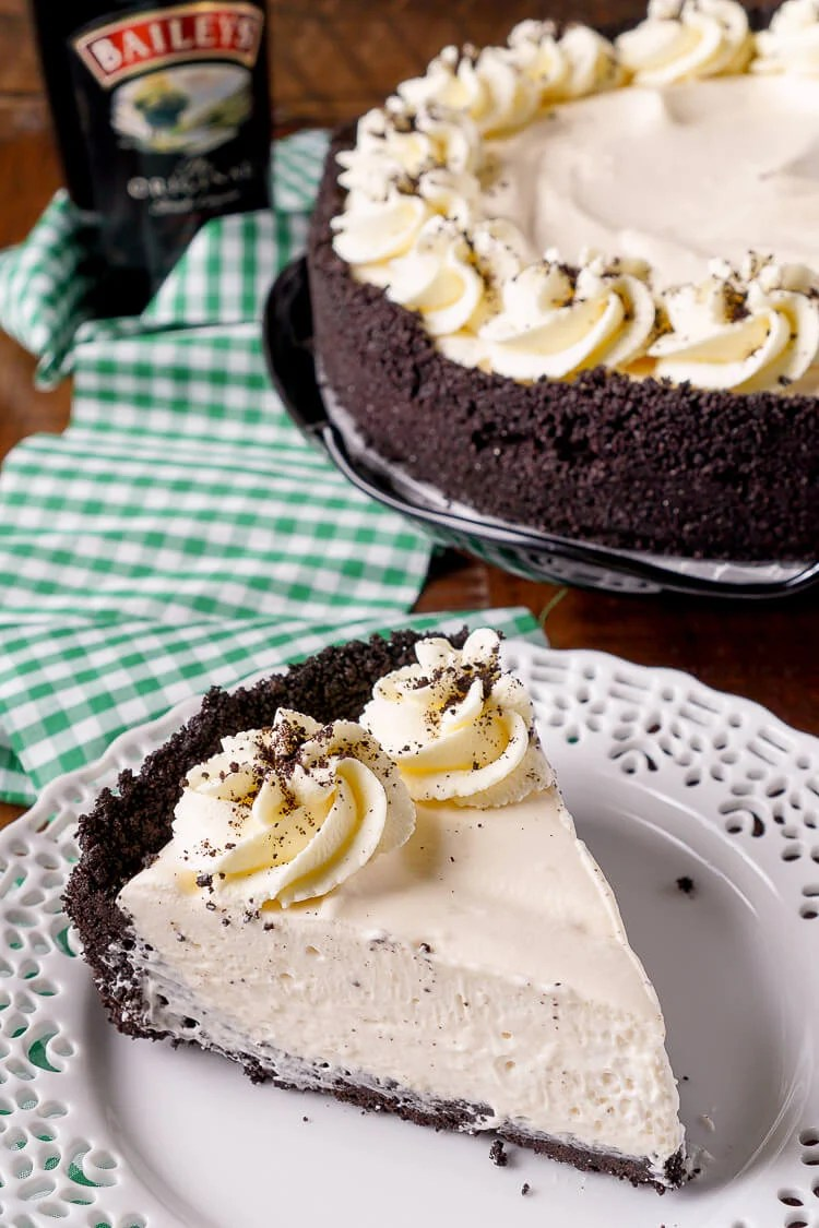 This Irish Cream Pie is an easy dessert laced with Baileys and perfect for St. Patrick's Day! A chocolate cookie crust filled with a cream marshmallow and Irish Cream filling and topped with vanilla whipped cream!