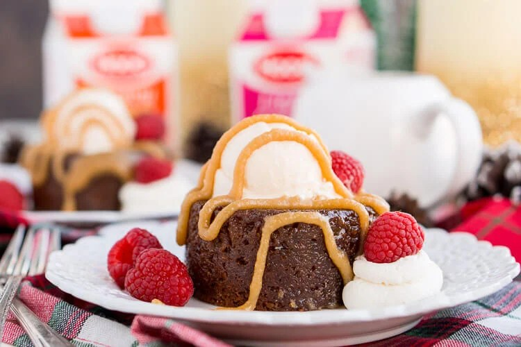 Sticky Toffee Pudding is a rich and cozy cake laced with fig puree and soaked in a sticky toffee sauce. A decadent, sweet, and comforting dessert that can be made up to 4 days ahead of time!