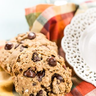 These Pumpkin Chocolate Chip Breakfast Cookies are a hearty and wholesome start to your fall mornings! They're loaded with pumpkin, oatmeal, whole wheat, apple sauce, and more! Whip them up in less than 30 minutes and enjoy them all week long!