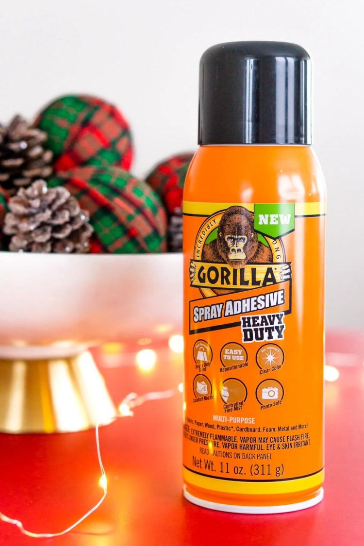 DIY Holiday Rag Balls made with Gorilla Glue Spray Adhesive