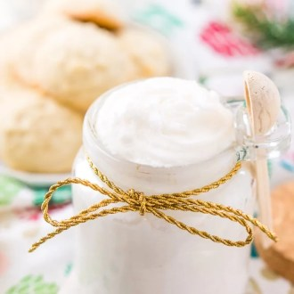 This Sugar Cookie Body Scrub is made with sugar, coconut oil, and fragrance oil. You'll love how easily this 3-ingredient DIY gift comes together!