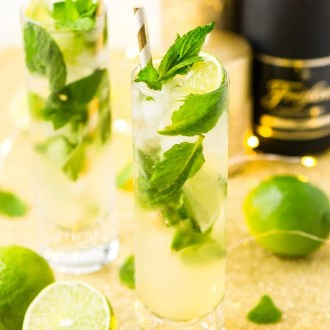 This Champagne Mojito Recipe is a bubbly twist on the classic cocktail making it perfect for parties and celebrations. Made with fresh limes, mint, simple syrup, rum, and champagne, everyone will love this zesty and refreshing cocktail!
