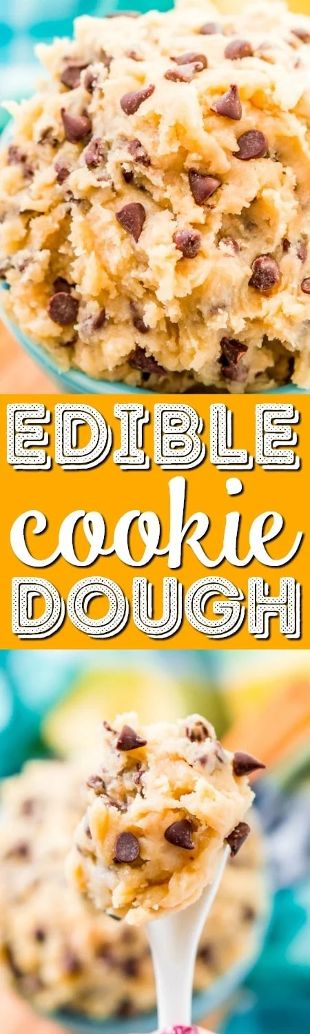 This Edible Cookie Dough is an eggless and delicious treat you can make in just 5 minutes! Made with butter, sugar, flour, salt, and chocolate chips!