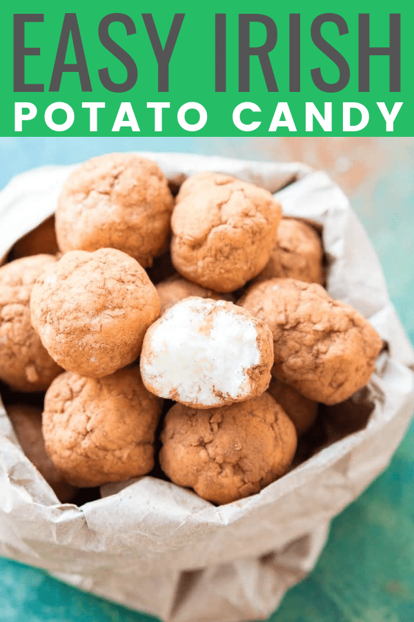 This Irish Potato Candy is perfect for celebrating St. Patrick's Day with! Made with butter, coconut, cream cheese, sugar, and cinnamon and they look like baby potatoes!