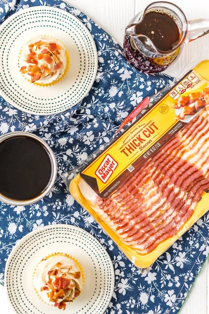 Oscar Mayer Bacon package with Maple Bacon Cupcakes, coffee, and maple syrup.