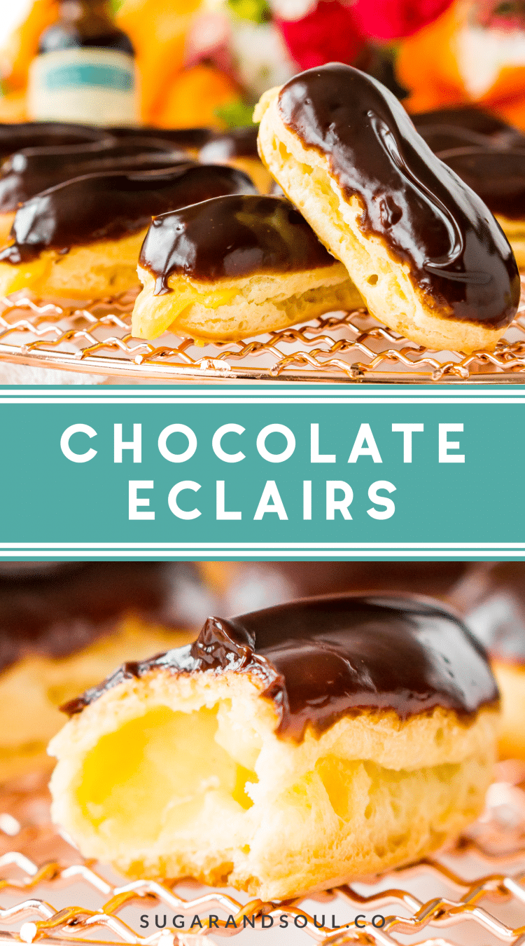The Eclair is a classic French pastry traditionally made with choux dough, pastry cream filling, and dipped in a rich chocolate glaze. They're a fancy dessert that's easy to make at home!