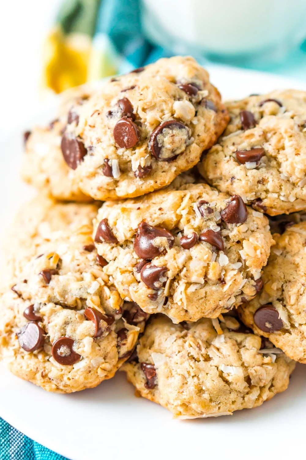 Lactation Cookies on white plate.