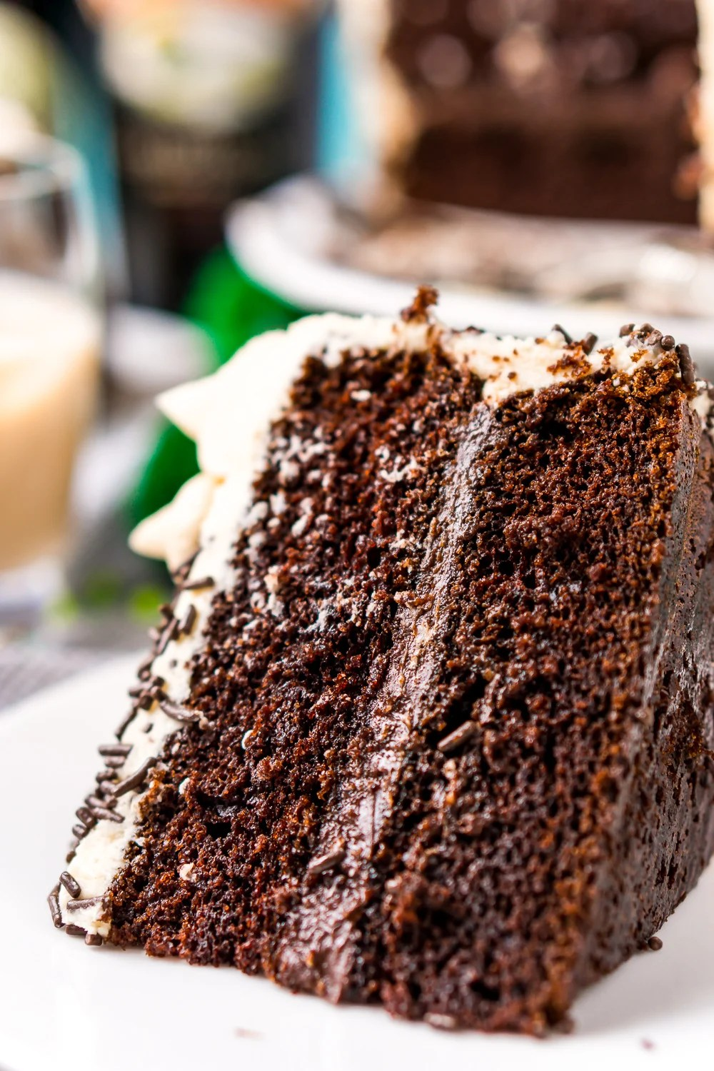 This Chocolate Guinness Cake is made with a rich and tender chocolate cake laced with smooth stout with a chocolate ganache filling and a decadent Irish Cream Frosting!