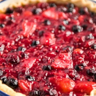 Close up of Mixed Berry Pie.